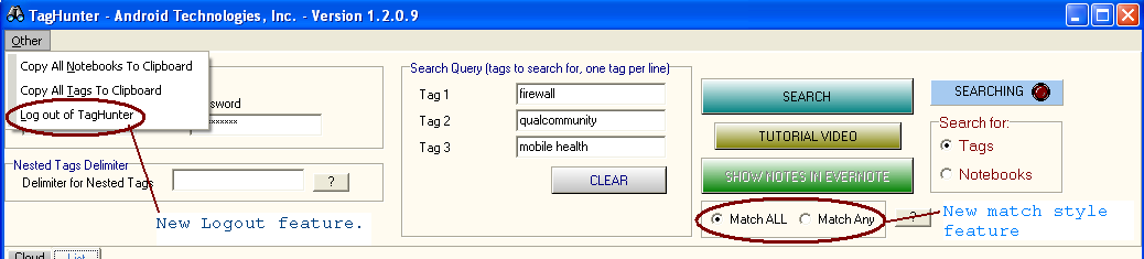 taghunter-logout-and-multi-tag-search.png